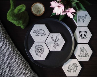 Carrara Marble Coasters - Stone Coasters - Housewarming Gift - Geometric - Animal Collection (4 Pack) - Marble