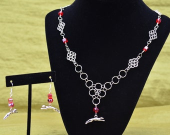 Running Greyhound Charm Necklace with Red Glass Beads
