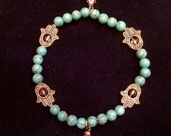 Turquoise Hamsa Hand and Buddha Bracelet