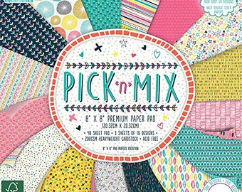 First Edition Pick-n-Mix FSC Paper Pad, Paper, Multi-Colour, 8 x 8-Inch