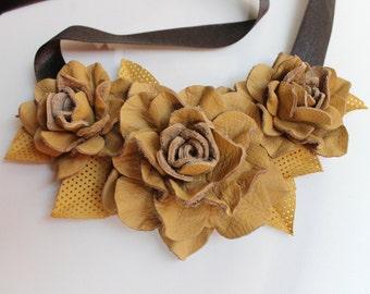 Yellow / mustard genuine leather rose flower bib necklace