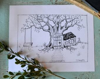 Winnie the Pooh Storybook Illustration | 8x10 Print