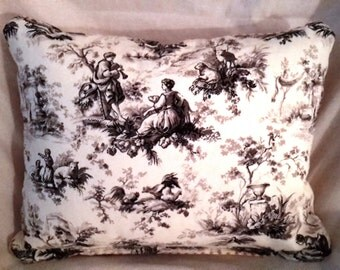 Black, White and Red Toile Pillow
