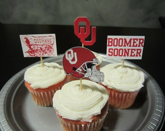 Cupcake toppers, party supplies, Oklahoma Sooners, football