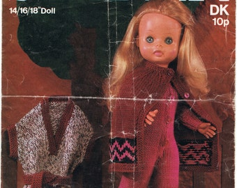 Vintage Dolls Clothes Knitting Pattern -For 14/16/18 inch Doll - PDF Download - DK - Sirdar 5670 Catsuit Cape and Overdress