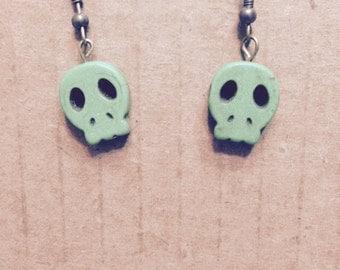 Green stone skull earrings