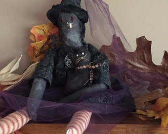 Primitive Halloween Witch with Black Cat