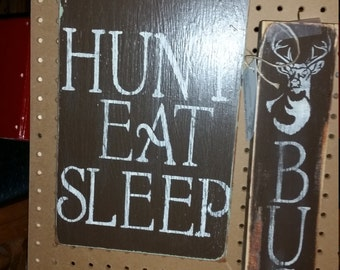 Set of Distressed Wood Hunting Signs