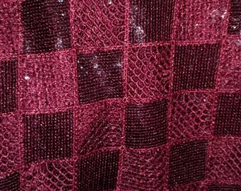 Checkered Sequin Beautiful Design Fabric By The Yard Shiny Multiple Colors including Navy, Burgundy, Charcoal/Black