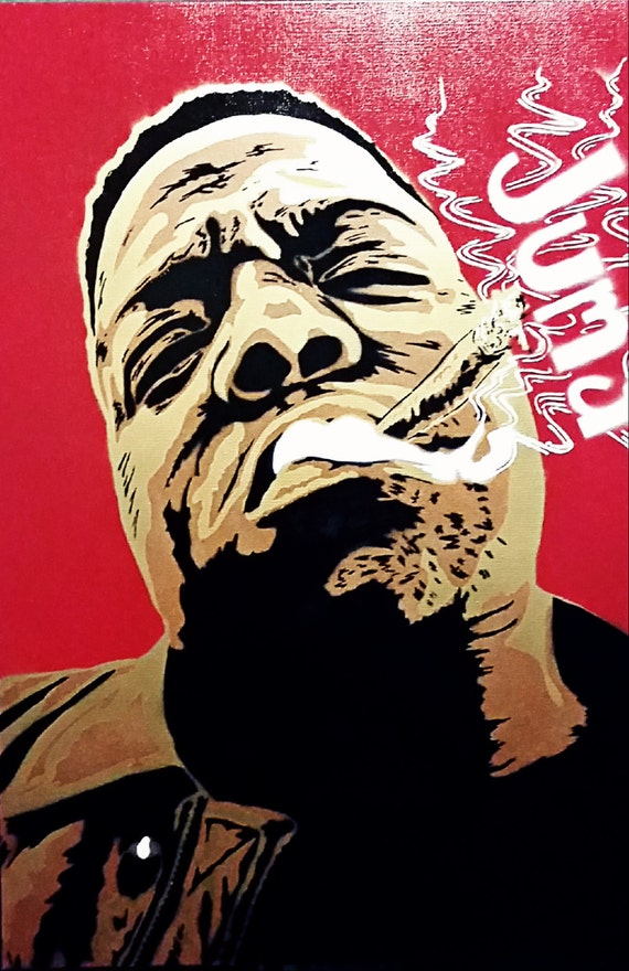 Unique Biggie Smalls Portrait Stencil Painting Black Red Blue