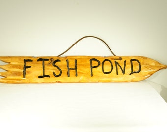 Rustic Wood Fish Pond Sign with leather hanger