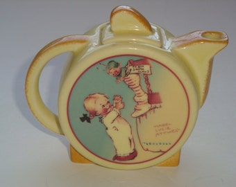 RARE ~ Carlton Ware Reproduction Mini Teapot ~ Pattern by Mabel Lucie Attwell