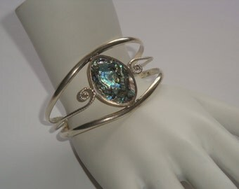 Mexico Sterling and Abalone Cuff Bracelet