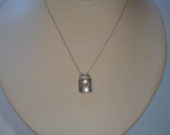 Sterling Silver and Diamont Lock Necklace