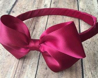Maroon Satin Bow on Hard Headband, Large Maroon Bow, Ribbon Wrapped Headband, Cranberry Big Girl Bow, Cranberry Headband