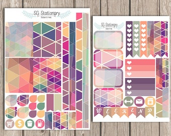 Retro Triangle Planner Stickers, for use  with EC Planner, Functional Stickers, ECLP, Decorative Stickers, ec stickers, Retro, Triangle