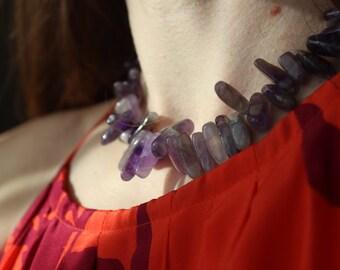 Gemstone necklace, amethyst necklace, gemstone jewelry
