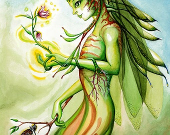 Spirit of nature,gift ideas,fantasy art, fantasy artwork,fairy art,art prints, prints for sale,green,yellow, butterfly, flower,gift,fairy