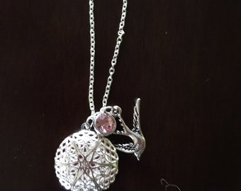 Pink Gem and Bird Diffuser Necklace