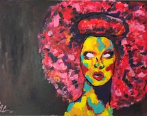 Abstract colorful Violet Chachki acrylic painting (FRAME INCLUDED)