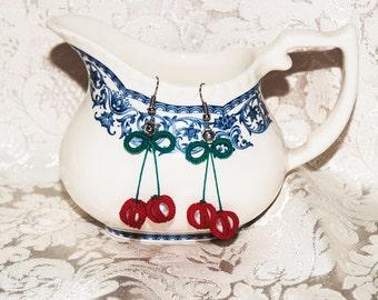 Earrings to tatting Fruit Cherries cherry