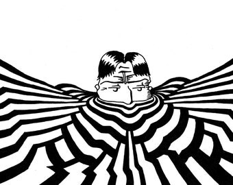 Surreal pen and ink drawing, abstract ripples, black and white