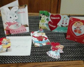 6 vintage valentines Grandma scrapbooking mixed medis art 1950's