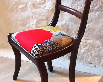 Unique Vintage chair with Japanese Fabric