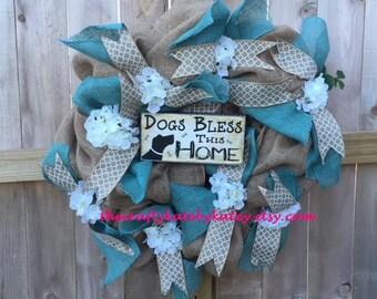 Dog Mom Wreath, Dog Wreath, Burlap Wreath, Pet Mom Wreath, Pet Wreath, Burlap House Decor, Shabby Chic Wreath