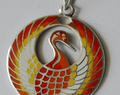 Silver Pendant with Hot Enamel round red crane bird blackened silver