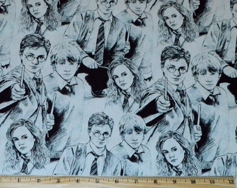 HARRY POTTER FABRIC / 1/2 Yard For Quilting / Ron Weasley - Hermione Granger - Wand - Robes