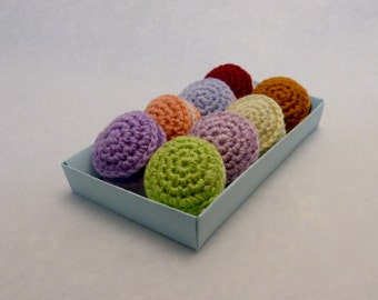 crochet macarons - set of 8, play food, crochet food, amigurumi macarons, les macarons