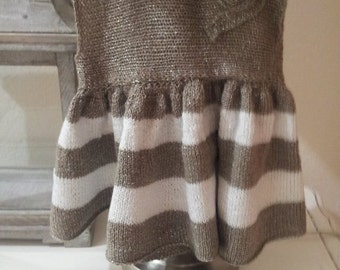 Hand knitted baby dress and booties   (3-6months)