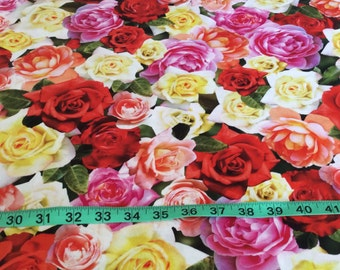 Red Rooster Roses Fabric...Beautiful! Sold by the half yard