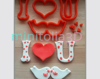 Set Of Love Birds Cookie Cutters, Valentine's day cookie cutter set