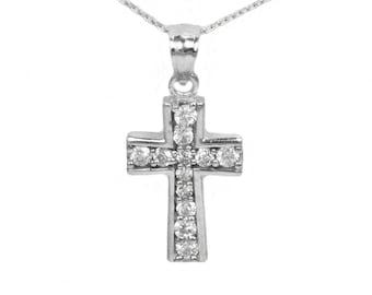14k White Gold Cubic Zirconia Cross Pendant
