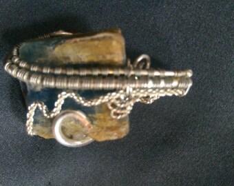 Blue kyinite Wire Wrap Pendant