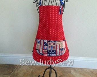 Americana Apron, 4th of July Apron, Independence Apron, Patriotic Apron, Mother/Daught Aprons