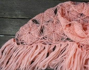 Pink shawl, SPIDERweb, Шаль Паутинка, buy shawl, shawl to crochet, scarf crochet woman, buy scarf mohair, Shawwaal knitt design