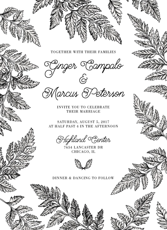 Black and white fern wedding invitations set printed for Classic border design