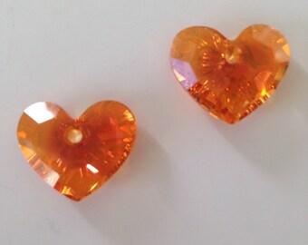 Pendants Swarovski Fire Opal heart/set of 2 rhinestone Beads