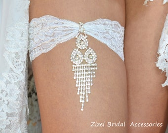 White Wedding Garter, Rhinestone Garter,  Lace Garte Set, Bridal Garter, Rhinestone Bridal, White Bridal Garter, Handmade Garter,Toss Garter