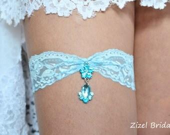 Blue  Bridal Garter, Blue Wedding ,  Blue Garter Set, Blue Lace Garte, Bridal Garter, Wedding Garters, Rhinestone Garter, Handmade Garter