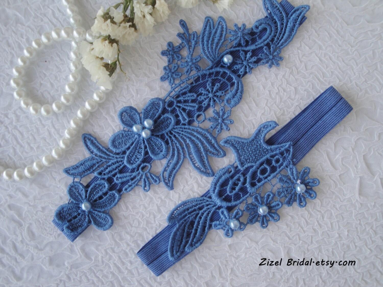 Wedding Garter Wedding Garter Set Something Blue Handmade
