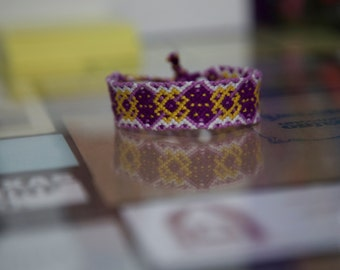 Yellow and Purple Intricate Friendship Bracelet