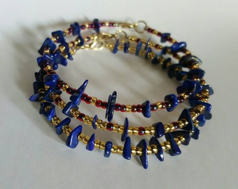 Lapis lazuli and glass beads bangle