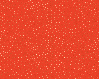 Peak Hour Fabric, 1/2 Yard, Red Orange with Yellow Dots, Quilting Fabric, Riley Blake Fabric, Polka Dot Fabric, C2835