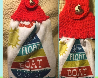You float my boat crochet top kitchen towel