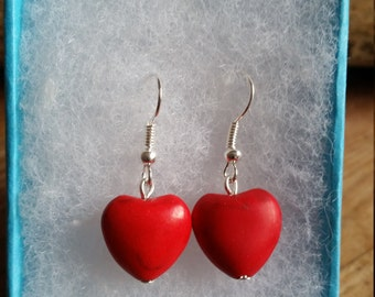 valentine red agate drop heart earings