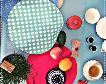 Round place mat green polka dot, FREE WORLDWIDE DELIVERY, tablecloth, table mats shabby chic
